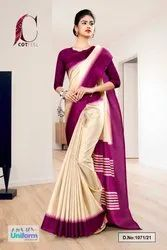 Beige Wine Gala Border Premium Polycotton CotFeel Saree For Teachers Uniform Sarees
