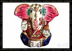 Metal Meenakari Kan Ganesha Statue God Idol Figurine