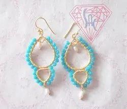 Sameer Art & Craft Pear Shape Wire Wrap Jhumka Earrings, Size: 27X45 mm