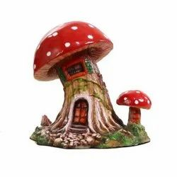 Mushroom House Polystone Statue PS15, Size: 7.5x6.5x7 Inches