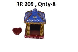 Traditional Blue And Red Clay Decorative Hut, For Decoration