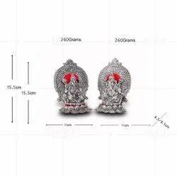 Silver Plated Laxmi Ganesh Kamal Big