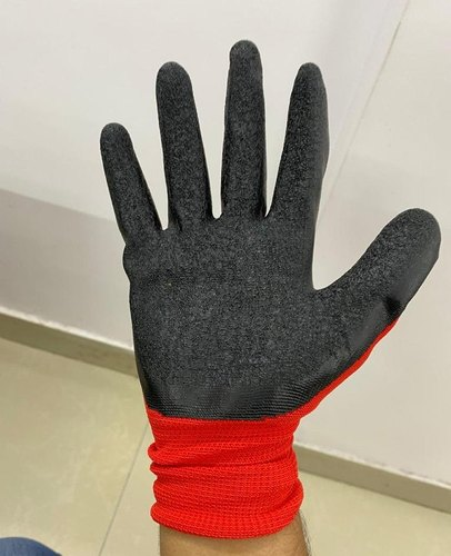 Nitrile Coated Hand Gloves Red / Black