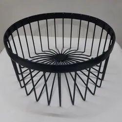 Round Black Metal Wire Basket