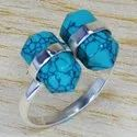 Pencil Shape Adjustable Ring Turquoise Gemstone 925 Sterling Silver Jewelry