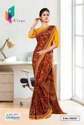 Maroon Gold Premium Paisley Print Italian Crepe Saree For Office Uniform Sarees 1003