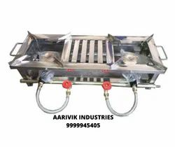 aarvik Lpg Ss Double Burner Frame With M-4 Burners, 2, Size: 12*32*8