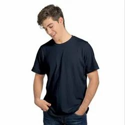 Plain Half Sleeve Navy Blue Men Round Neck T Shirt