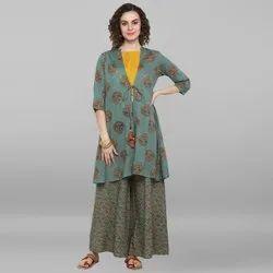 Janasya Women's Turquoise Green Rayon Crop Top With Palazzo & Jacket (J0027)
