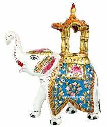 Metal Meenakari Enamel Work Ambabari Elephant Statue