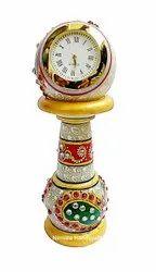 Marble Pillar Watch Handmade Enamel Work Table Decorative Showpiece