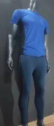 Plain Polyester Men Blue Sport T Shirt