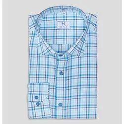 Boros Semi Spread Collar Sky Blue Tartan Checks Shirt, Machine wash, Size: Xs-xl