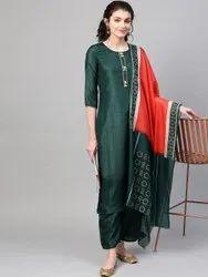 La Firangi Women Green & Orange Solid Silk Kurta With Palazzos & Dupatta