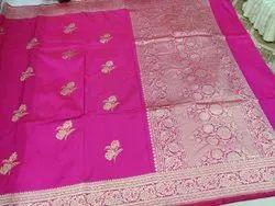 Party Wear Border Banarasi Khaddi Georgette Kadwaari, 6 m (with blouse piece)