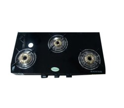 Three Burner Glass Top Gas Stove, For Kitchen