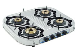 QUATTRO On Off Stainless Steen Gas Chula Four Burner, For Kitchen, Size: 32 Inch
