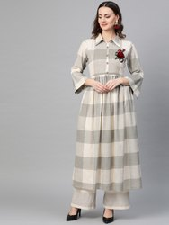 La Firangi Women Beige & Grey Checked A-Line Kurta
