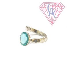 Blue Topaz Silver Ring with Silver Plated