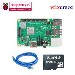 Raspberry Pi 3 Model B Plus Motherboard With 16 GB SD Card And Ethernet Cable -  Robocraze