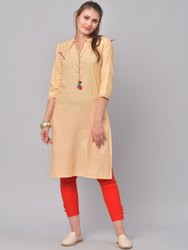 La Firangi Women Peach-Coloured Printed Straight Kurta
