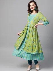 La Firangi Women Green & Blue Printed Layered A- Line Kurta