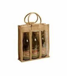 Brown Cotton Jute Bag For 3 Bottle