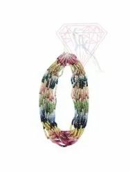 Multi Sapphire Gemstone Beads Necklace With Fine Quality