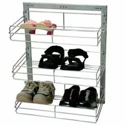 Silver Stainless Steel Shoes Rack, For Home, 3