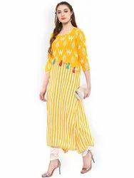 La Firangi Women Yellow & White Striped Straight Asymmetric Kurta
