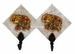 Nirmala Handicrafts Iron Wood Hooks Fiber Double Elephant Key Hook White/Black/Gold Work