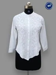 Ladies Chikan Embroidery Shirt, Size: 38 to 46