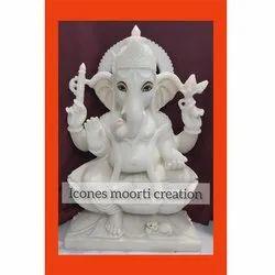 White Marble Sitting Ganesha Idol