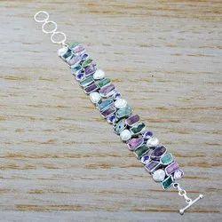 925 Sterling Silver Jewelry Amethyst Turmuline Rough Gemstone Fine Bracelet