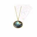 Gold Plated Round And Rectangle Necklace With Nice Finishing