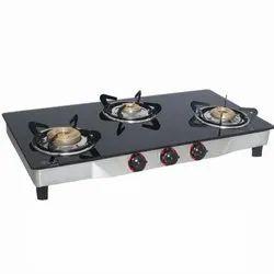 Three Burner Black Gas Stove, For Kitchen