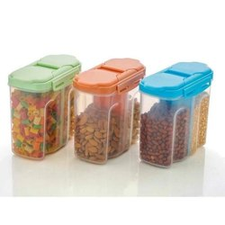 KK Gadgets Plastic 2 Sections Air Tight Transparent Food Storage Container Jar, For Kitchen