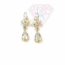 White Cubic Zircon Prong  Setting  Gemstone  Stud Earring