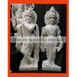 Standing White Marble Radha Krishna Statue