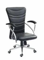 Leather VENUS VC 5163 REVOLVING LOW BACK CHAIR, Black