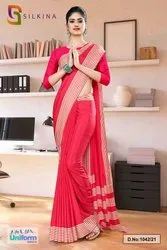 Carrot Pink Plain Border Premium Polycotton Raw Silk Saree For Employee Uniform Sarees