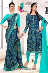 Blue Green Premium Paisley Print Italian Crepe Saree For Teachers Uniform Sarees
