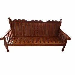 Brown Rectangular 3 Seater Designer Wooden Sofa, Size: 6x2 feet
