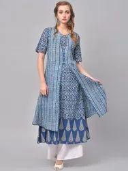La Firangi Women Blue Printed A-Line Kurta