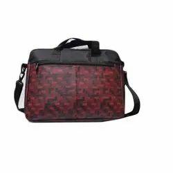 男女皆宜的紫红色和黑色Shiwakoti印花皮革办公包,尺寸:1.5*11.5*4.5英寸