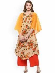 La Firangi Women Orange & Beige Floral Print A-Line Kurta