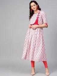 La Firangi Women Pink Printed A-Line Kurta