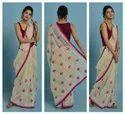 Embrodaried Work Cream & Blue Colour Chanderi Silk Saree, 5.5 Mtr