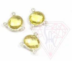 Lemon Quartz Gemstone  Handmade Bezel Connector