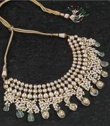 Wedding Wear White Party Ware Fancypearl kundan necklace set no501